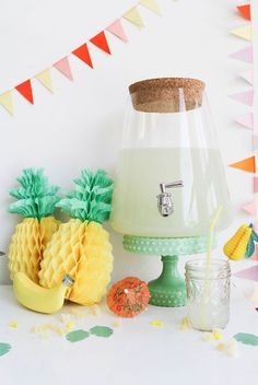 This pineapple-adorned summer pool party setup is such a cute idea.