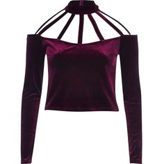 d79a1ee898 River Island Dark red velvet choker crop top ( 35) ❤ liked on Polyvore  featuring