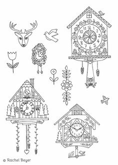 Embroidery Pattern of cuckoo clocks. Cuckoo Clock Tattoo, Cuckoo Clocks, Clock Icon, Clock Art, Nutcracker Image, Clock Drawings, Dragonfly Drawing, Thinking Day, Art Lessons Elementary