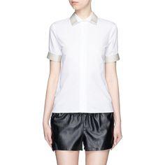 Acne Studios 'Morag Pop' contrast webbing poplin shirt (38120 RSD) ❤ liked on Polyvore featuring tops, white, white collar top, cuff shirts, collar top, white collar shirt and poplin shirt