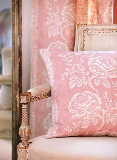 Delilah - This soft pink design makes a real impact in the most subtle way. We think this one looks so pretty with simple pale grey walls! Coral Pink, Blush Pink, Kate Forman, Rose Cottage, White Cottage, Garden Cottage, Pink Houses, Romantic Homes, Pink Room
