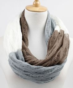 Gray & Tan Color Block Infinity Scarf | Daily deals for moms, babies and kids