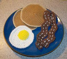Handmade Crochet Childrens Play Food Breakfast Set 5 Piece Set #unbranded