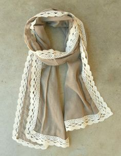 Taupe + Ivory // Sweet Crochet Scarf <3