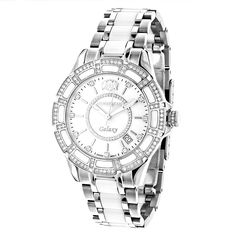 Swiss Quartz Ladies Diamond Watches: Stainless Steel and White Ceramic Watch 1.25ct MOP Luxurman Galaxy *** Hurry! Check out this great product