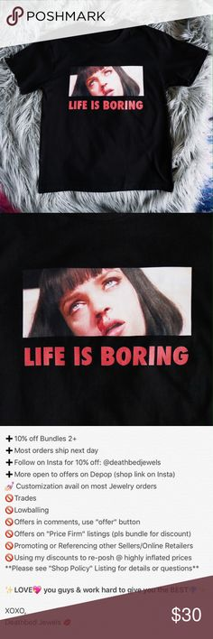 "⚡Back In-Stock⚡Life is Boring Tee in Black Life is Boring Tee in BLACK   Graphic Tee featuring infamous scene from Pulp Fiction that reads ""Life is Boring"" in red print Finally a piece that speaks for itself  {(also avail in white, see other listing)}   Unisex sizing One Size fits: XS-M Slightly oversized grunge fit Quality Ringspun Cotton  *Similar aesthetic to UNIF & Urban Outfitters,  independent brand  Tarantino drugs dollskill 90s grunge tumblr omighty nasty gal Deathbed Jewels Tops…"