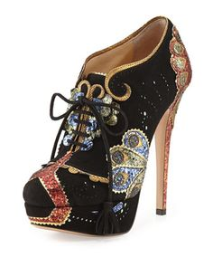 Orient Express Lace-Up Bootie, Black by Charlotte Olympia at Bergdorf Goodman.