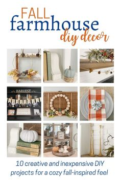 """Use code """"falldiy"""" for a 30% discount! You'll love these fall DIYs just in time to prepare your home for the season! DIY concrete pumpkins, wood beaded wreath, """"thankful"""" book page banner, autumn hoop wreath, and more! #falldiy #fall"""