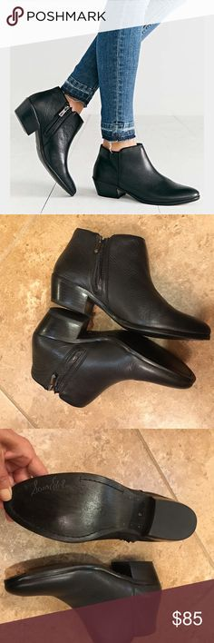 "Sam Edelman Petty Bootie Black pebbled leather, size 8, true to size, side zip, 1 1/2"" slight stacked heel, tiny scratch on right toe, not noticeable when wearing, worn once, no trades Sam Edelman Shoes Ankle Boots & Booties"