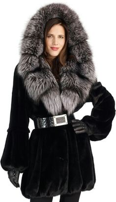 Blackglama Mink and Silver Fox Fur Hooded Coat
