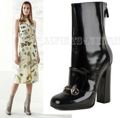 $1,100 GUCCI ANKLE BOOTS  BLACK LEATHER HORSEBIT DETAIL LILLIAN 40 / 10 #Gucci #AnkleBoots