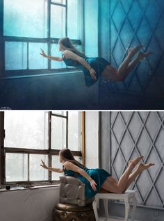 Before and after Photoshop images - 21 Now YOU Can Create Mind-Blowing Artistic Images With Top Secret Photography Tutorials With Step-By-Step Instructions! Levitation Photography, Photoshop Photography, Photography Tutorials, Creative Photography, Digital Photography, Photography Poses, Photography Composition, Perspective Photography, Concept Photography
