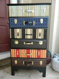 DIY suitcase dresser… Do with wall paper and suitcase hardwear, or cut the tops off of actual suitcases and attach to drawer fronts. DIY suitcase dresser… Do with wall paper… Décoration Harry Potter, Harry Potter Nursery, Repurposed Furniture, Painted Furniture, Furniture Makeover, Diy Furniture, Dresser Makeovers, Dresser Ideas, Plywood Furniture