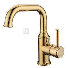 Contemporary Ti-PVD Finish Brass One Hole Single Handle Rotatable Bathroom Sink Faucet - GBP £ 53.21