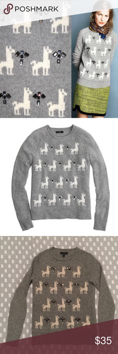 J.Crew sweater 100% wool Size XXS Adorable j.crew jeweled llama wool sweater perfect for the Holidays. In great used condition. Size XXS but could fit up to a size S. This beauty is 100% wool and covered in llamas, what more could you ask for? J. Crew Sweaters Crew & Scoop Necks
