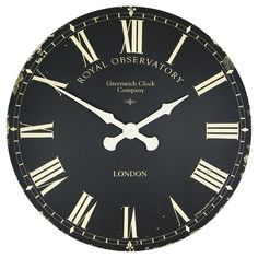 Extra large Greenwich dial wall clock in black with cream hands - 70cm.