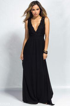 Sleeveless Deep V Long Black Chiffon Maxi Dress with Lace Bodice