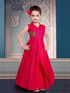 Buy Designer Party Wear Pink Color Art Silk Fully Stitched Kids Gown