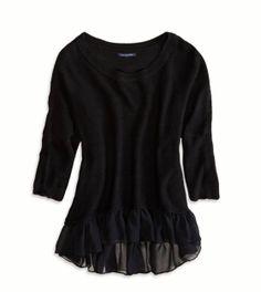 Black Ruffled Sweater.