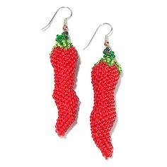 """Princess Amanda Guatemalan """"Chili Pepper"""" Beaded Earrings at HSN.com. Seed Bead Jewelry, Seed Bead Earrings, Beaded Earrings, Seed Beads, Beaded Jewelry, Jewelry Box, Crochet Earrings, Jewelry Making, Drop Earrings"""