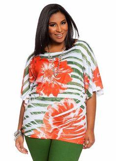 Ashley Stewart Womens Plus Size Tropical Water Striped Top Poppy Orange 22/24 $19.99 #Tops #Apparel #AshleyStewart