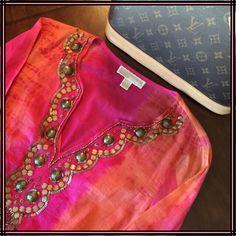 ❗️SALE❗️MICHAEL Michael Kors stunning beaded tunic Beautiful intricate design, gorgeous colors, with elastic and ruffle. Sz S. 100% cotton. Like new! MICHAEL Michael Kors Tops Tunics