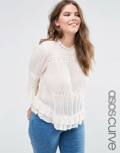 Image 1 of ASOS CURVE Vintage Pretty Victoriana Blouse