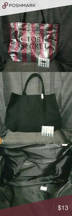 Pink Victoria's Secret Bag Tote w/Body Set Brand new. Never been used. This bag was only available on Blackfriday a few years ago. The front is covered in silver and pink sequins. Comes with body moisturizer set. New with tags. Victoria's Secret Bags Totes