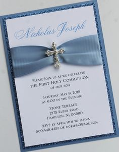 Blue Baptism-Communion Invitation with by atouchofsunshine4