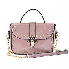Fashion Women Chain Cross Body Bag Ladies Shoulder bag Vintage handbag Female Satchel PU leather bag Rivet bags Leisure lock bag