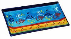 Handmade Rectangular Ceramic Tapas / Serving Plate (Rameado Celeste): Amazon.co.uk: Kitchen & Home