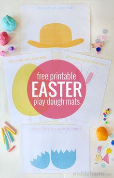 Free printable Easter play dough mats