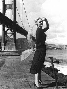 Kim Novak in San Francisco filming Vertigo.