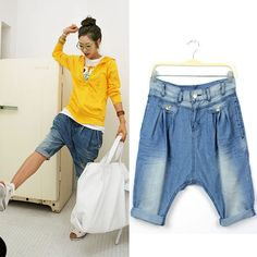 Fashion Lady New 2013  arrival loose  wearing white harem pants baggies capris jeans Free shipping $15.34