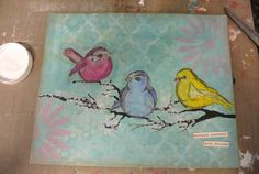 Scribbly Birds Mixed Media Canvas-Surround Yourself With Friends   Mel's Art Journal