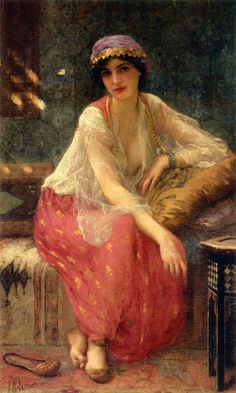 """""""Odalisque"""" - Charles Amable Lenoir (French, oil on canvas {Academic realism artist seated female painting Art And Illustration, Illustrations, Paintings I Love, Beautiful Paintings, Art Paintings, Pre Raphaelite, Art Plastique, Oeuvre D'art, Female Art"""