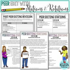 Peer editing strategies and activities for the secondary ELA class.