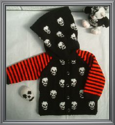 Black Red White Skull Goth baby hoody