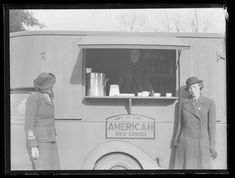 WVS Mobile Canteen, Reading. Photograph from Reading Chronicle Collection. - February 1941. A mobile canteen, donated by the American Red Cross in use in Reading in 1941. A Mobile Canteen for the Women's Voluntary Service, W.V.S., one of those given by the American Cross (painted on the side). Other organisations also presented mobile canteens such as the Company of Veteran Motorists who gave one which had cost £170 for use in blitzed areas of the Southern Region.
