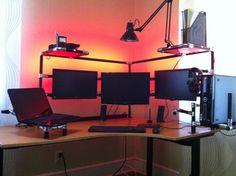 Reddit Battlestation v.1 - Pole-frame Trips, shelves and hide-away laptop mount.