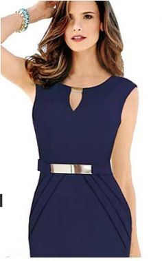 Women& Pure Color Sleeveless Round Collar V-Neck Cultivate One& Morality Dress Ball Gown Dresses, I Dress, Peplum Dress, Red Blouses, Blouses For Women, Chiffon Blouses, Types Of Dresses, Short Dresses, Plus Size Cocktail Dresses