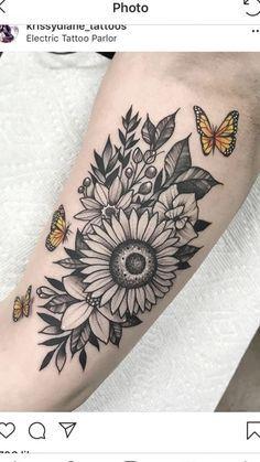 Sunflower Tattoo Shoulder, Sunflower Tattoos, Sister Tattoos, Aunt Tattoo, Cool Tattoos, Tatoos, Awesome Tattoos, Elephant Tattoos, Beaded Jewelry Patterns