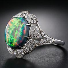 Gem Fire Opal and Diamond Ring