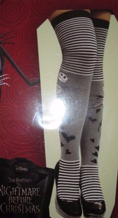 Disney NIGHTMARE BEFORE CHRISTMAS Jack Skellington Striped Over-The-Knee Socks #Disney #OvertheKnee