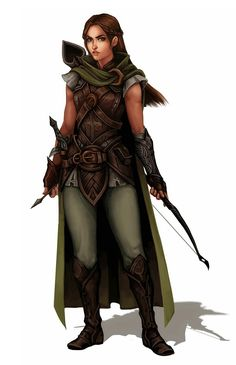 Female Human Ranger - Pathfinder PFRPG DND D&D 3.5 5th ed d20 fantasy