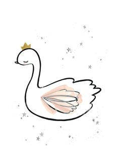 Stunning Wall Art Print Swan Princess For A Little Girl's Room.