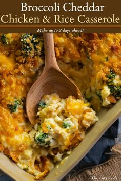 Chicken Broccoli Rice Casserole Chicken Broccoli Rice Casserole This easy, make-ahead chicken and rice casserole is extra creamy and loaded with delicious bites of broccoli and savory cheddar cheese. Get ready to watch your family lick their plates clean! Broccoli Cheddar Chicken, Chicken Broccoli Rice Casserole, Broccoli Bake, Chicken Rice Bake, Chicken And Rice Dishes, Cauliflower Casserole, Rice Soup, Broccoli Salad, Broccoli And Cheese