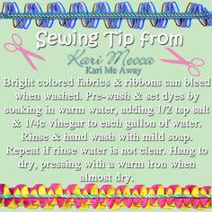 Sewing Tips Helpful Hints Trouble with bleeding fabrics or ribbons? Use this sewing tip to prevent it! from Kari Mecca of Kari Me Away - Easy Sewing Projects, Craft Tutorials, Sewing Tips, Sewing Hacks, Sewing Tutorials, Sewing Patterns, Sewing Ideas, Embroidery Monogram, Silk Ribbon Embroidery