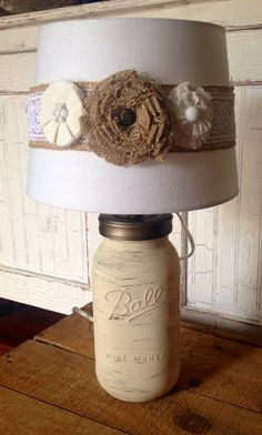Mason Jar Lamp with white chalk paint