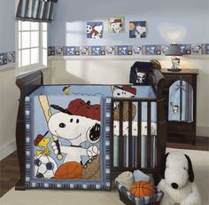 Snoopy baseball nursery set